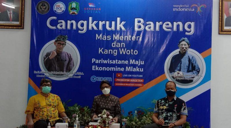 "Cangkruk Bareng Mas Menteri Dan Kang Woto ""Pariwisatane Maju Ekonomine Mlaku"